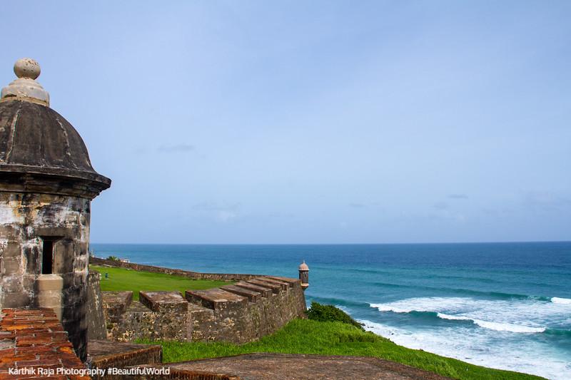 City walls and tower, Atlantic Ocean, Old San Juan