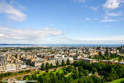 Edinburgh with West Princes Street Gardens below, Scotland