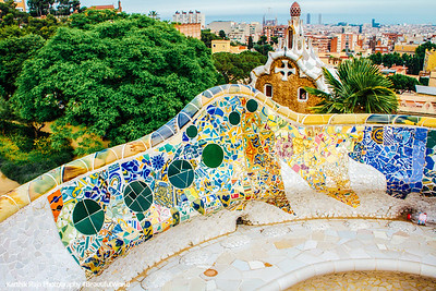 Mosaic Benches, Park Guell, Antoni Gaudi, Barcelona, Spain