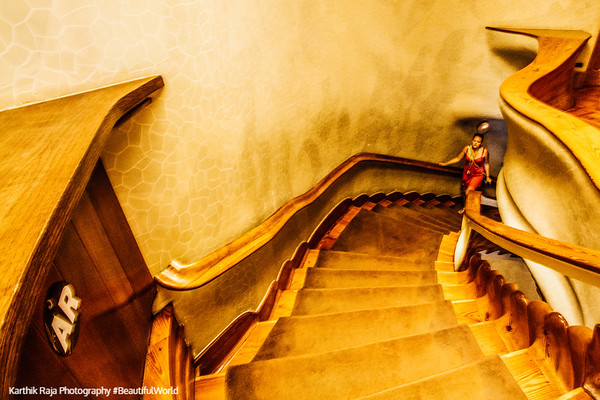 Casa Batllo, Gaudi, Stairway, Barcelona, Spain