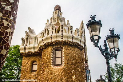 Lamp post, Park Guell, Antoni Gaudi, Barcelona, Spain