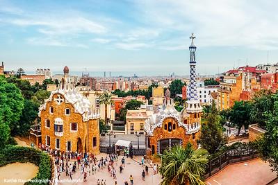 Monumental zone, Park Guell, Antoni Gaudi, Barcelona, Spain