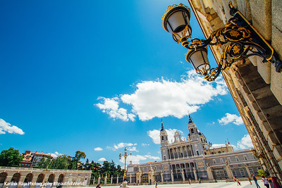 Cathedral of the Almudena , lamp, Madrid, Spain