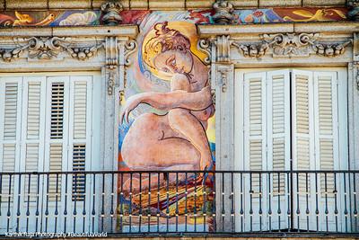 Window, Plaza Mayor, Madrid, Spain