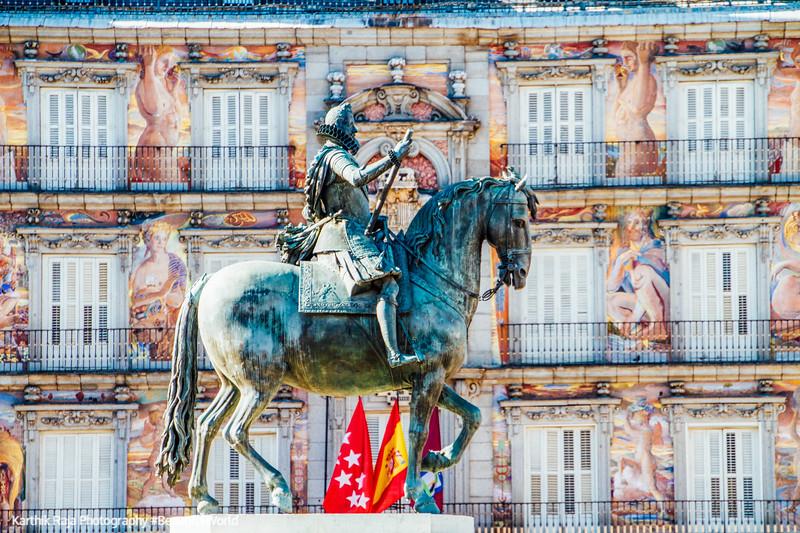 Philipe III statue, Plaza Mayor, Madrid, Spain