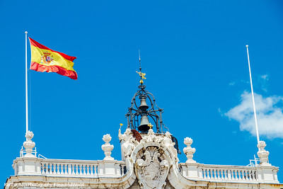 Spain flag, Royal Palace, Madrid, Spain