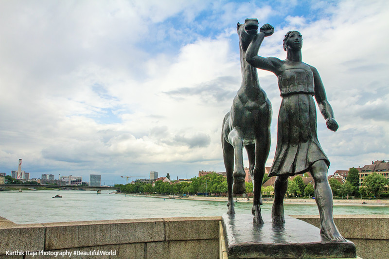 Amazon statue, Mittlere Brücke (Middle Bridge), Basel, Switzerland