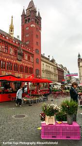Rathaus, Munsterplatz, Farmer's market, Basel, Switzerland