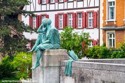 Helvetia overlooks the Rhine, Basel, Switzerland
