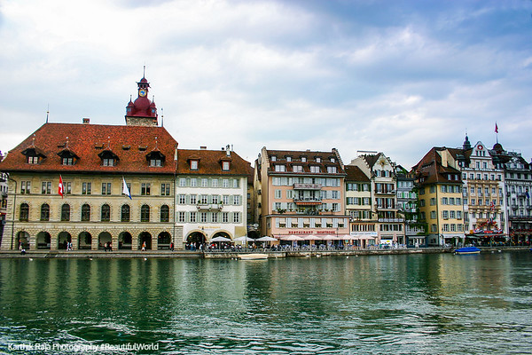 Buidlings along the Reuss River, Lucerne, Switzerland
