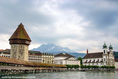 Water Tower (Wasserturm) and the Chapel Bridge (Kapellbrücke), Lucerne, Switzerland