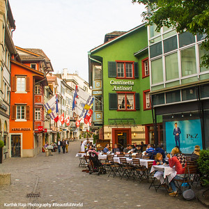 A cafe, a street, Zurich, Switzerland
