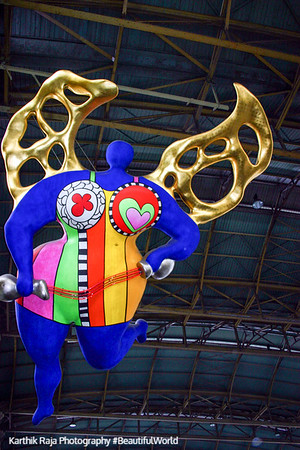 'L'Ange Protecteur,' or Guardian Angel, by Niki de Saint-Phalle, Main train station - Hauptbahnhof, Zurich, Switzerland