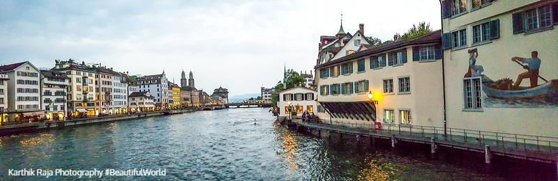 Panorama, Limmat, Zurich, Switzerland