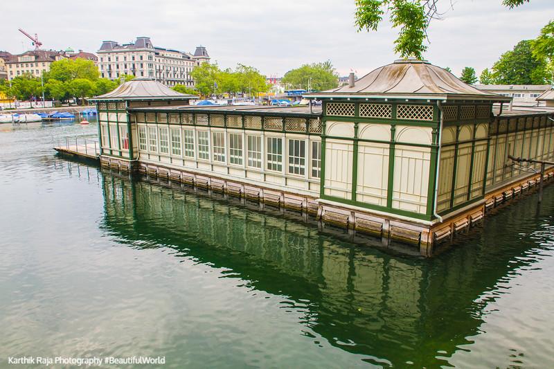 Pier on the Limmat, Zurich, Switzerland