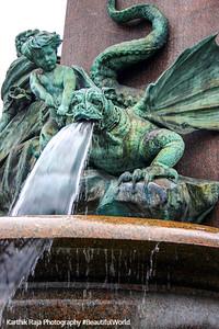 Fountain, dragon, Zurich, Switzerland