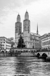 Grossmunster, Black and White, Zurich, Switzerland