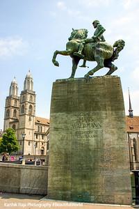 Hans Waldmann gallops to the Grossmunster, Zurich, Switzerland