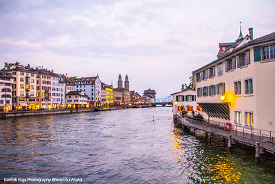 Limmat sunset, Zurich, Switzerland