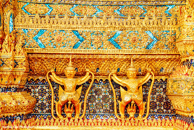External decorations of the Ubosoth, the main building of Wat Phra Kaew, Grand Palace, Bangkok, Thailand