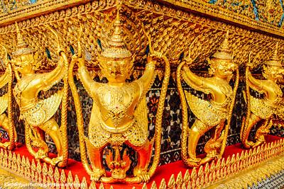 Garudas, External decorations of the Ubosoth, the main building of Wat Phra Kaew, Grand Palace, Bangkok, Thailand
