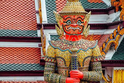 Thotsakhirithon, giant demon (Yaksha) guarding an exit to Grand Palace, Bangkok, Thailand