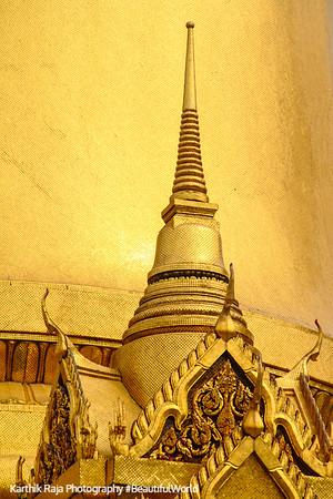 Wat Phra Kaew Temple Spire, Phra Sri Rattana Chedi in Sri Lankan style, Grand Palace, Bangkok, Thailand