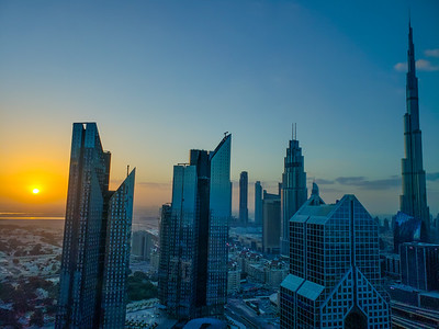 Sunrise, Burj Khalifa, Central Park Towers, Index Tower, Dubai, United Arab Emirates