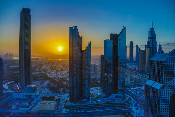 Sunrise, Index Tower, Central, Park Towers, Dubai, United Arab Emirates