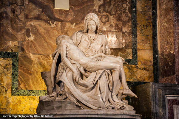 The pieta, Michelangelo sculpted and the only one he ever signed - in the Vatican, Vatican City