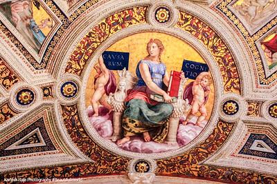 Raphael's Lustitia, ceiling fresco from the Stanza della Segnatura, Vatican City