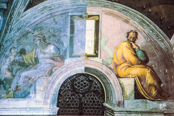 Michelangelo paints himself into the ceiling at Sistine Chapel, Vatican City