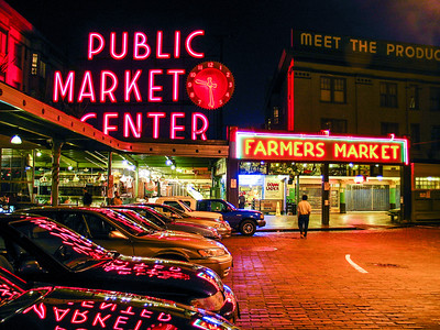Seattle Markets at night
