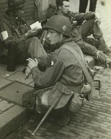 Joseph D. Liebgott in Eindhoven, Holland, during operation Market Garden. Operation Market Garden was an unsuccessful Allied operation, under British command. It lasted from  September 17, 1944 – September 25, 1944. It was the largest Airborne operation of the time, even larger than the D Day drops #WW2 #ww2history #WWII #bandofbrothers