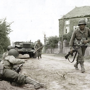 US Soldiers trying to take cover somewhere in Normandy, France. June 1944. #WWII #ww2history #WW2