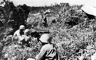 Browning M1917A1 machine gun crew of the 96th Division on  top of Yaeju-Dake Hill, Okinawa, 18 June 1945 #WW2 #Okinawa  #ww2history #wwii