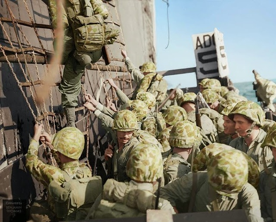 Marines climbing down the nets into landing craft during the Battle of Peleliu, September-November 1944. The battle of Peleliu was codenamed Stalemate II, and the main reason of the battle was for the island's Airfield, it allowed direct access by bombers to Japan. #WWII #ww2history #WW2