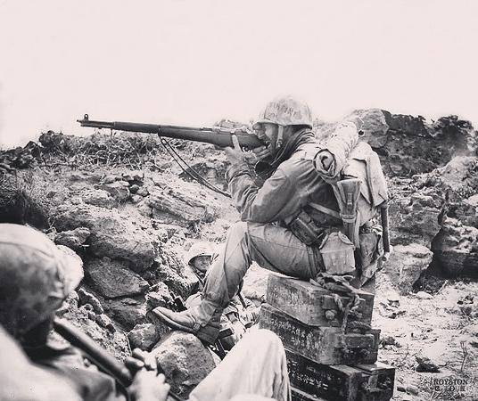 US Marine with his M1 Garand. #wwii #ww2history #ww2 #usmc