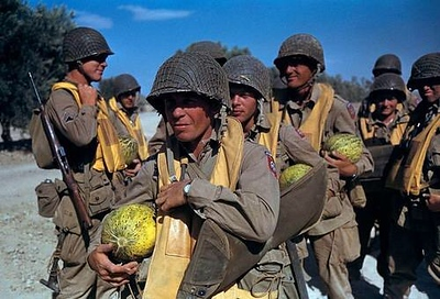 Paratroopers of the 504th Parachute Infantry Regiment, 82nd Airborne with fresh watermelons. Tunisia, 1943.  I don't know why they have watermelons, anyone know why? #WWII #ww2history #WW2 #paratrooper