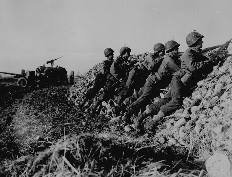"""""""A U.S. Infantry anti-tank crew fires on Nazis who machine- gunned their vehicle, somewhere in Holland."""" W. F. Stickle, November 4, 1944. 111-SC-197367. National Archives Identifier: 531226 ##wwii #ww2 #american"""