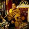 His Holiness Penor Rinpoche on throne - by Mannie Garcia