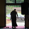 HE Gyangkhang Rinpoche leaving main temple after morning practice