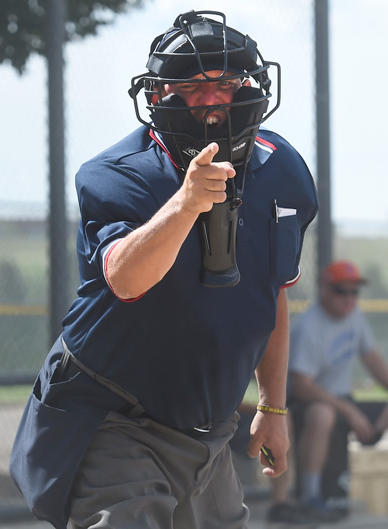 . Umpire, Jack Stanfield, calls a strike.  Members of  the Wounded Warrior Umpire Academy worked a Little League tournament in Louisville on Saturday. For more photos, go to www.dailycamera.com.  Cliff Grassmick  Staff Photographer June 17, 2017