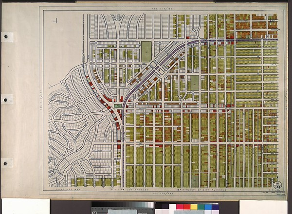 WPA Land use survey map for the City of Los Angeles, book 8 (Downtown Los Angeles and Hyde Park to Watts District), sheet 8