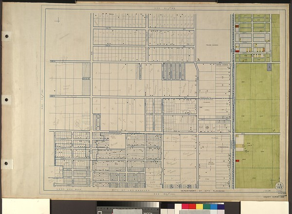 WPA Land use survey map for the City of Los Angeles, book 8 (Downtown Los Angeles and Hyde Park to Watts District), sheet 36