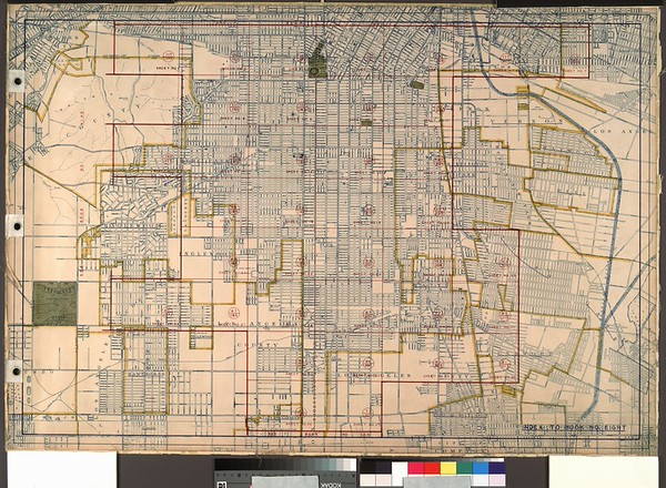 WPA Land use survey map for the City of Los Angeles, book 8 (Downtown Los Angeles and Hyde Park to Watts District), sheet 28