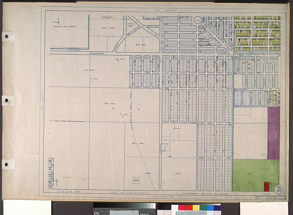 WPA Land use survey map for the City of Los Angeles, book 8 (Downtown Los Angeles and Hyde Park to Watts District), sheet 21