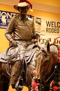 Statue of Benny Binion, rodeo promoter.