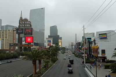 Foggy day on the Strip.