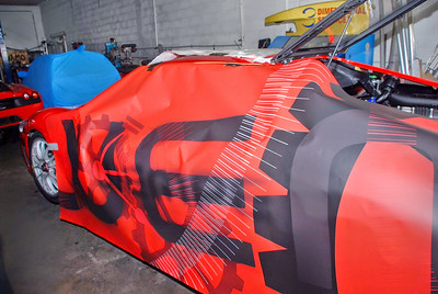 Vehicle wrap for the Ferrari Challenge in Miami, FL www.skinzwraps.com